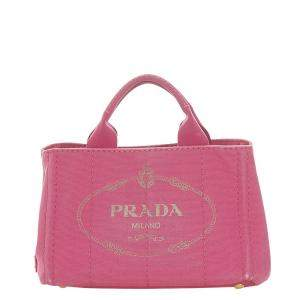 Prada Pink Canvas Canapa Tote Bag