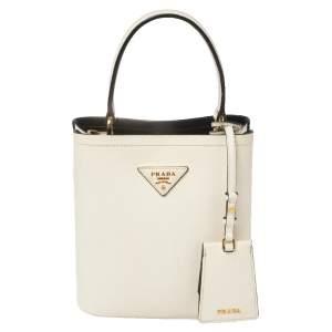 Prada Cream Saffiano Leather Small Panier Bag