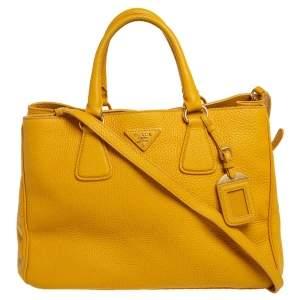Prada Yellow Vitello Daino Leather Open Tote
