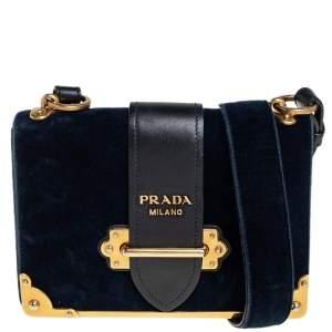 Prada Teal Blue/Black Velvet and Leather Cahier Shoulder Bag