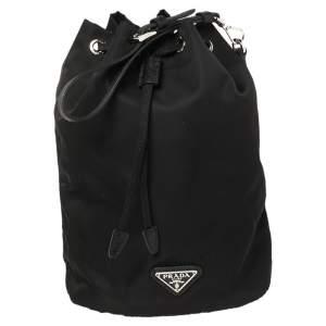 Prada Black Nylon and Leather Bucket Pouch