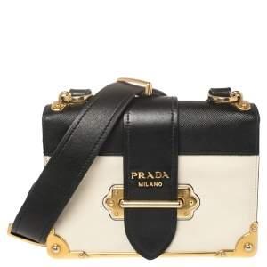 Prada Black/White Leather Cahier Shoulder Bag
