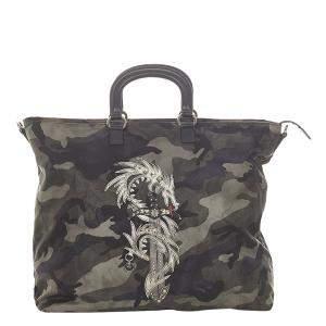 Prada Black Nylon Tessuto Camouflage Dragon Tote Bag