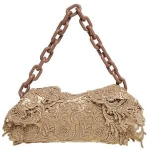 Prada Gold Pizzo Lace Chain Flap Shoulder Bag