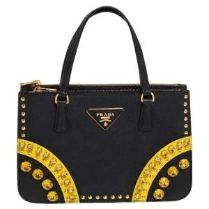 Prada Black Saffiano Leather Crystal Studded Double Zip Tote