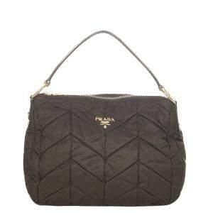 Prada Black Nylon Quilted Tessuto Shoulder Bag