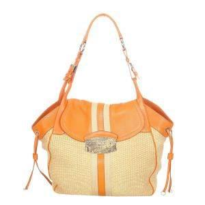 Prada Orange/Beige Straw Tote Bag