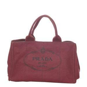 Prada Red Canvas Canapa Tote Bag