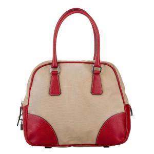 Prada Brown/Red Leather trimmed Canapa Bauletto Bag