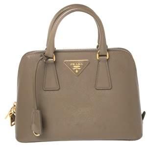 Prada Brown Saffiano Vernice Leather Small Promenade Satchel