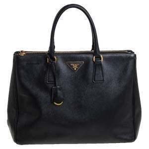 Prada Black Saffiano Leather Medium Galleria Double Zip Tote