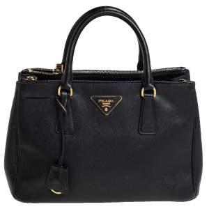 Prada Black Saffiano Lux Leather Small Galleria Tote