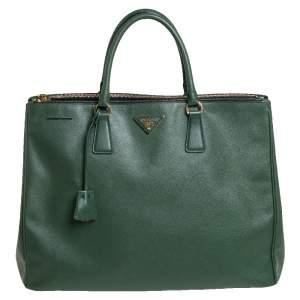 Prada Green Saffiano Lux Leather Executive Double Zip Tote