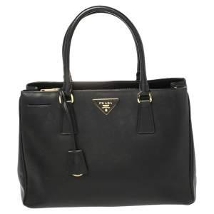 Prada Black Saffiano Lux Leather Small Tote