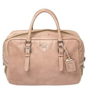 Prada Pink Cervo Lux Leather Zippers Bauletto Bag