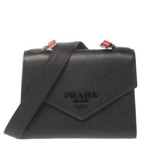 Prada Black Saffiano Cuir Leather Monochrome Shoulder Bag