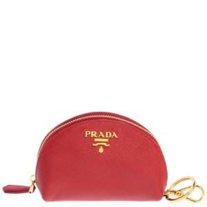 Prada Red Saffiano Leather Coin Purse