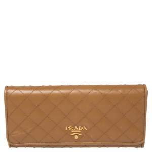Prada Tan Quilted Saffiano Leather Flap Continental Wallet