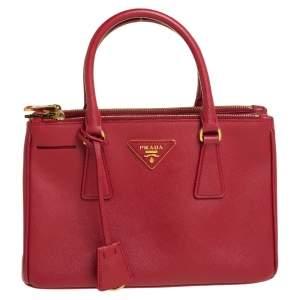 Prada Red Saffiano Lux Leather Mini Galleria Double Zip Tote