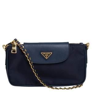 Prada Navy Blue Tessuto and Saffiano Leather Crossbody Bag