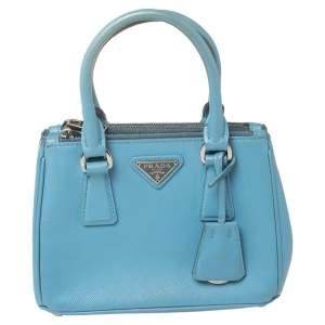Prada Blue Saffiano Leather Mini Galleria Tote Bag
