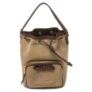 Prada Brown Logo Jacquard Canvas and Leather Trim Bucket Bag