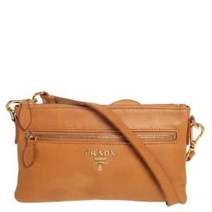Prada Tan Leather Front Pocket Slim Shoulder Bag