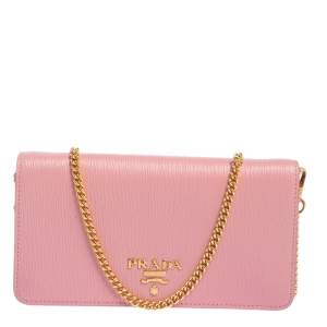 Prada Pink Vitello Move Leather Wallet On Chain