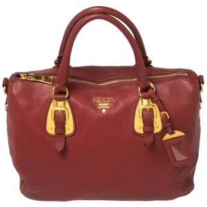 Prada Maroon Grained Leather Bauletto Bag
