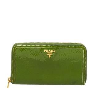Prada Apple Green Patent Leather Zip Around Continental Wallet
