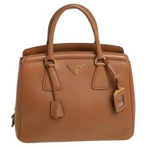 Prada Caramel Saffiano Lux Leather Parabole Tote