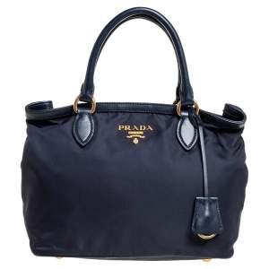 Prada Blue Nylon and Leather Borsa A Mano Tote