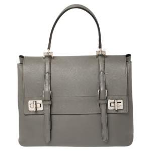 Prada Grey Saffiano Lux Leather Double Turn Lock Top Handle Bag