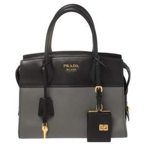 Prada Grey/Black Saffiano Lux and City Leather Small Esplanade Tote