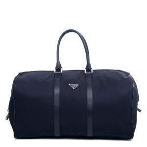 Prada Black Nylon Leather Boston Bag