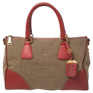 Prada Red/Brown Canvas and Leather Jacquard Logo Convertible Satchel