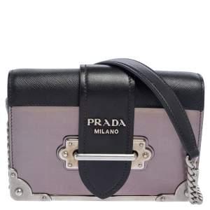 Prada Black/Metallic Saffiano Lux and Leather Cahier Shoulder Bag