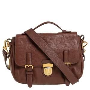 Prada Brown Leather Flap Messenger Bag