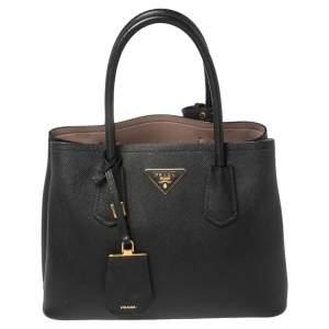 Prada Black Saffiano Cuir Leather Small Double Handle Tote