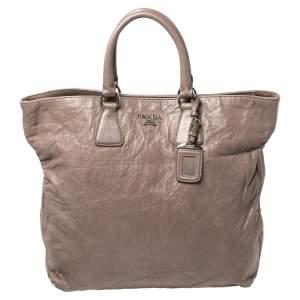Prada Grey Crinkled Leather Snap Tote