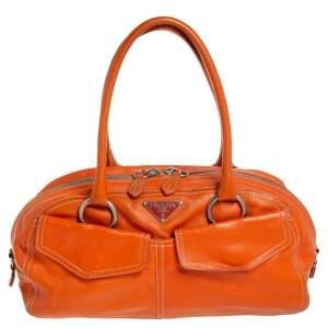 Prada Orange Leather Double Pocket Satchel