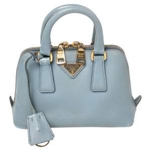 Prada Light Blue Saffiano Lux Leather Mini Promenade Satchel