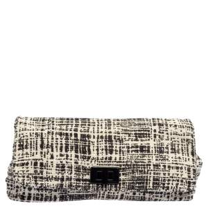 Prada Black/White Printed Tweed Turnlock Flap Clutch