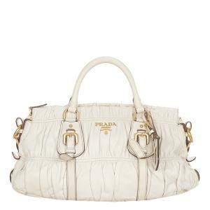 Prada White Leather Nappa Gaufre Satchel Bag