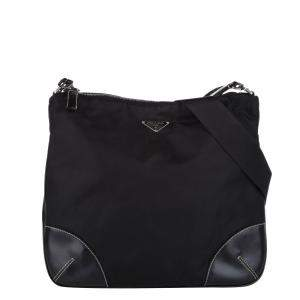 Prada Black Leather Nylon Tessuto Shoulder Bag
