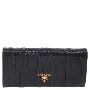 Prada Black Matelassé Leather Flap Continental Wallet