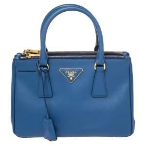 Prada Blue Saffiano Lux Leather Mini Galleria Double Zip Tote