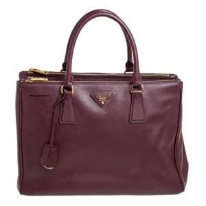 Prada Burgundy Saffiano Lux Leather Medium Galleria Tote