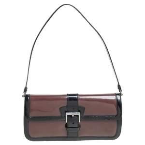 Prada Black/Brown Patent Leather Flap Baguette