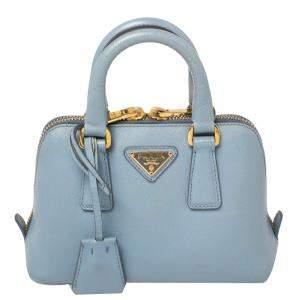 Prada Blue Saffiano Lux Leather Mini Promenade Crossbody Bag